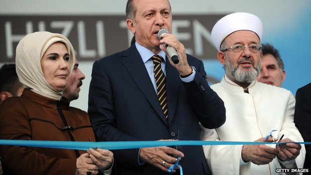 PM Recep Tayyip Erdogan (centre) and his wife Emine (left) cut the ribbon for a new high speed train