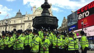 The Met's new West End police gather at Eros in Piccadilly Circus