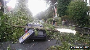 Car damaged during Birmingham storm in 2005