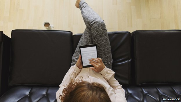Woman reading eBook