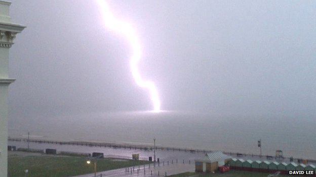 Lightning strike off Hove seafront