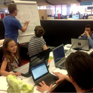 Young people at BBC Birmingham for the Festival of Code