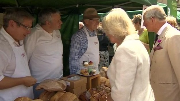 The Prince of Wales and Duchess of Cornwall met market stall holders and shop owners in Oakham, Rutland
