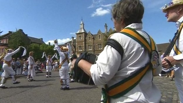 Morris dancers welcomed the Prince of Wales and Duchess of Cornwall to Oakham, in Rutland