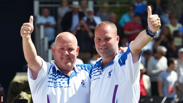 Alex Marshall and Paul Foster celebrate winning the gold.