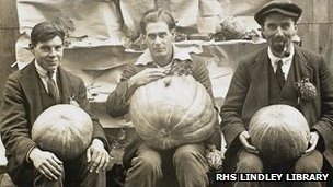 Internees with vegetables