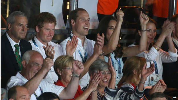 The Royal trio later watched the boxing at the Commonwealth Games