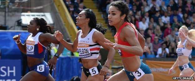 Williams (right) is matching results of much more mature runners like Asha Philip (left) and Ashleigh Nelson (centre)