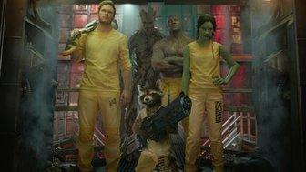 Chris Pratt, Dave Bautista and Zoe Saldana with 'Rocket Raccoon' and 'Groot' in Guardians of the Galaxy