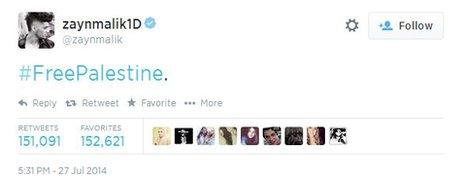 Zayn Malik's #freepalestine tweet