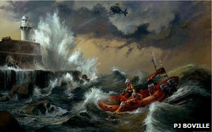 A painting by Redcar artist Philip J Boville shows the lifeboat crew carrying out the rescue