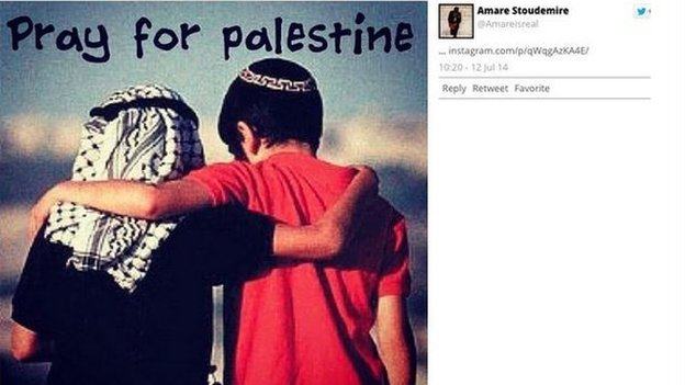 "An Instagram post from Amar'e Stoudemire with an image that says ""Pray for Palestine"""