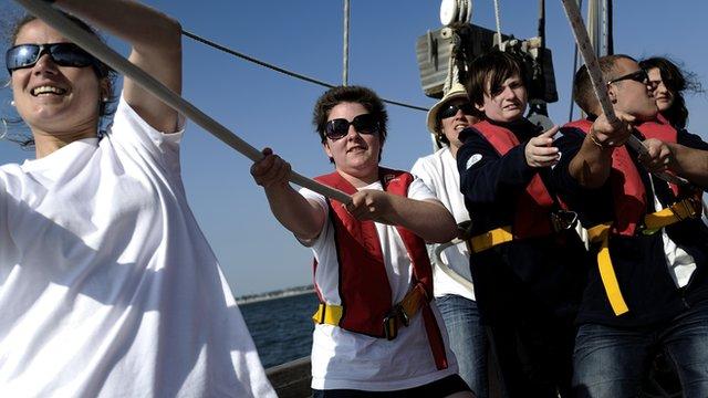 Children sailing together
