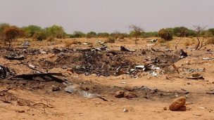Debris is seen at the crash site of Air Algerie flight AH5017 near the northern Mali town of Gossi - 27 July 2014