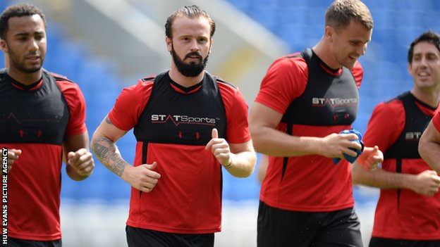 The bearded John Brayford training with the Cardiff first team