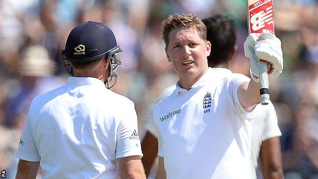 England's Gary Ballance celebrates reaching 150
