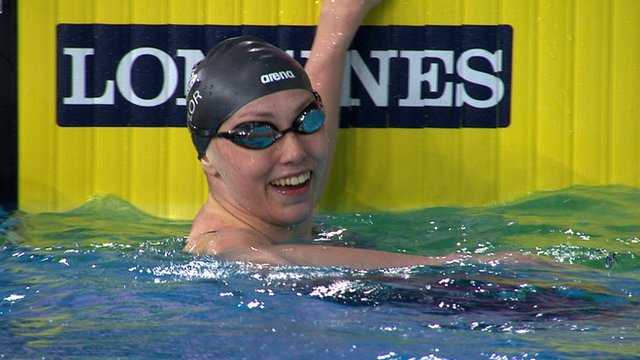 English swimmer Sophie Taylor at the 2014 Commonwealth Games in Glasgow