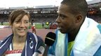 Winner of Commonwealth gold in the 100m T12 Libby Clegg and her guide Mikail Higgins