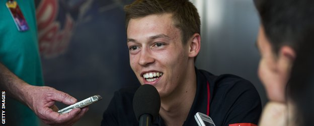 DANIIL KVYAT is interviewed at the Monaco Grand Prix 2014