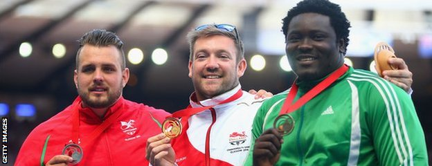 Wales' Aled Davies, England's Dan Greaves and Richard Okigbazi of Nigeria