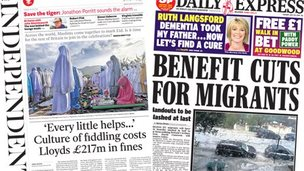 Composite of Independent and Express front pages