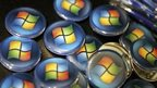 Microsoft logos on display