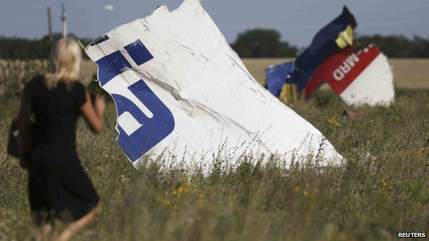A woman walking past wreckage at the crash site of Malaysia Airlines flight MH17