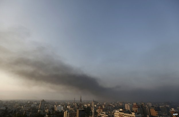 Smoke over Gaza City, 29 July