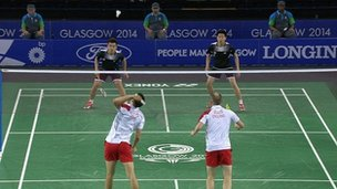 Mixed team final between Malaysia and England in badminton at Glasgow 2014