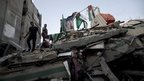 The rubble of the unoccupied house of former Hamas Prime Minister Ismail Haniyeh in Gaza, 29 July