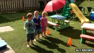 Caleb, Ollie and Phoebe Brown recreate the Commonwealth Games in their garden