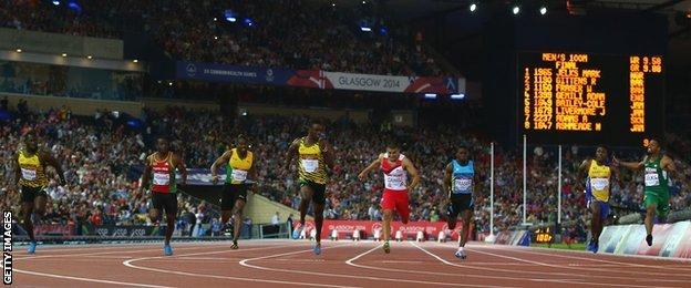 Adam Gemili of England is beaten by Jamaica's Kemar Bailey-Cole