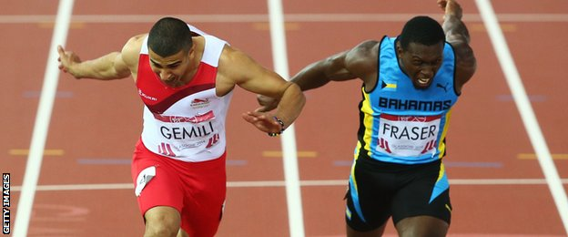 Adam Gemili (left) takes silver in the Commonwealth Games 100m