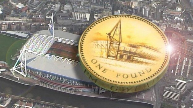 Graphic image of the Millennium Stadium and a pound coin