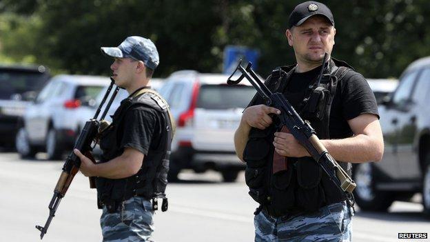 Pro-Russia separatists near Shakhtarsk in Donetsk region