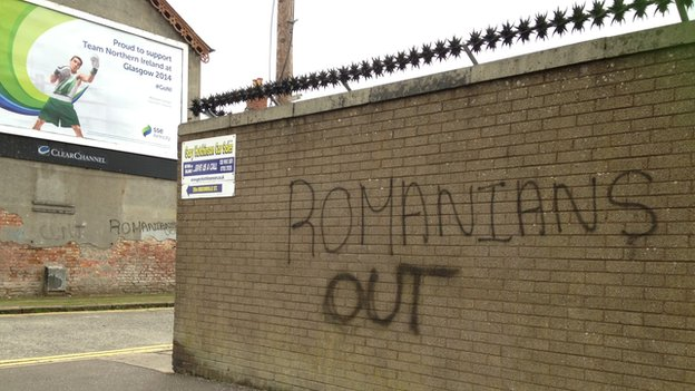 Racist graffiti appeared on gable walls near Chobham Street