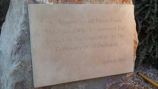 Alderney plaque for WW1 servicemen