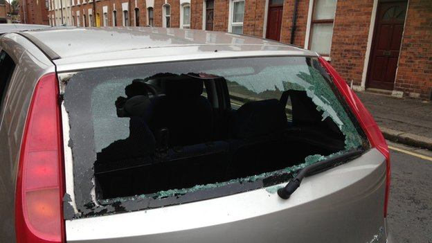 A car was damaged in Ravenscroft Street