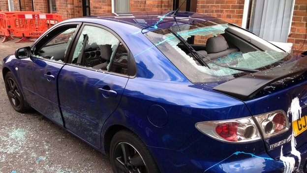 The windows of this car in Rosebery Street were smashed in