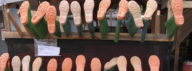 Boots at an Ebola treatment centre, Guinea