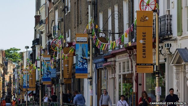 Tour de France lamp post banners in Cambridge