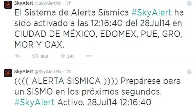 Image of tweets sent by SkyAlert on Monday 28 July 2014