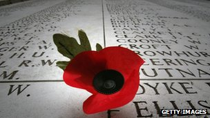 War memorial and poppy