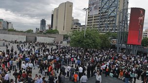 Evacuations due to earthquakes are common in Mexico, such as this on 8 may 2014