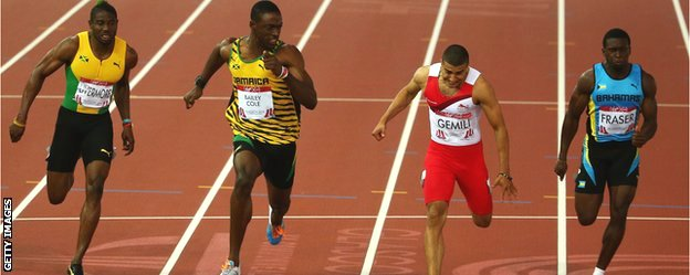 Adam Gemili is beaten to the gold by Kemar Bailey-Cole in the Commonwealth Games 100m