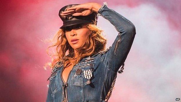 Beyonce performing in Winnipeg, Canada
