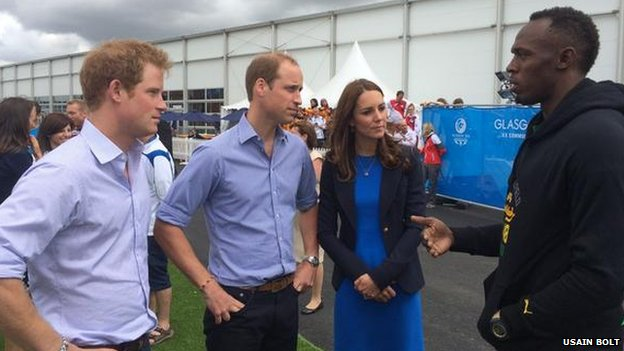 Usain Bolt with Prince Harry, William and Kate