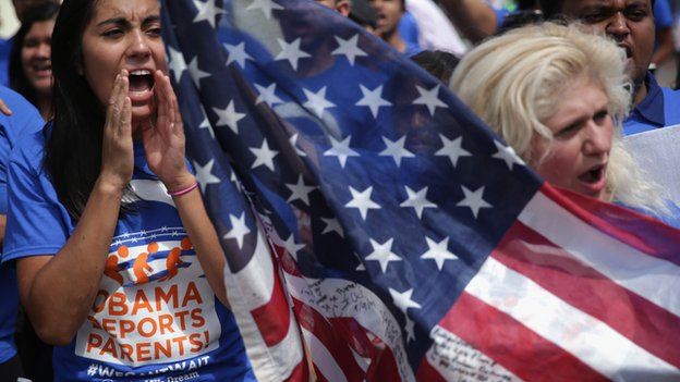 Pro-immigration protestors demonstrate in Washington, DC.