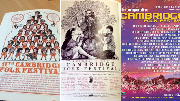 Posters of Cambridge Folk Festival through the years
