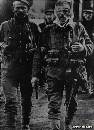 Walking British and Belgian wounded at Mons